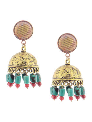 Red-Turquoise Beaded Jhumkis
