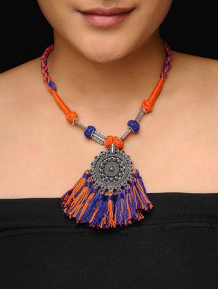 Orange-Purple Thread Necklace with Tassels