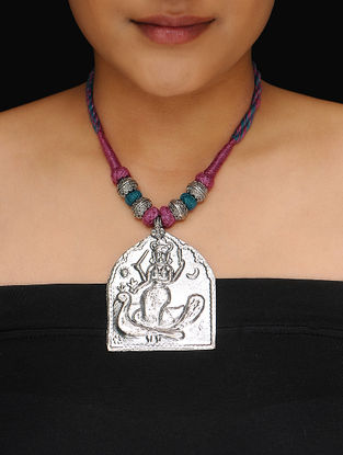 Purple-Teal Thread Necklace with Deity Motif