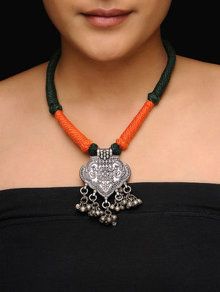 Green-Orange Thread Necklace with Peacock Motif