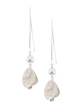 White Handcrafted Beaded Earrings