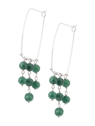 Green Handcrafted Beaded Earrings