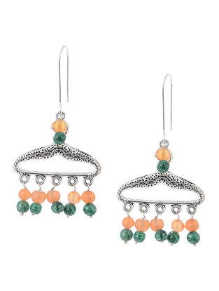 Peach-Green Handcrafted Beaded Earrings