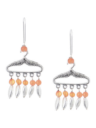 Peach Handcrafted Beaded Earrings