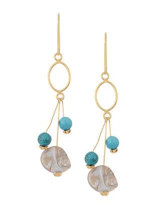 Blue-White Handcrafted Beaded Earrings