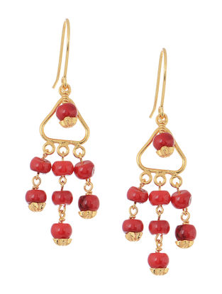 Red Handcrafted Beaded Earrings
