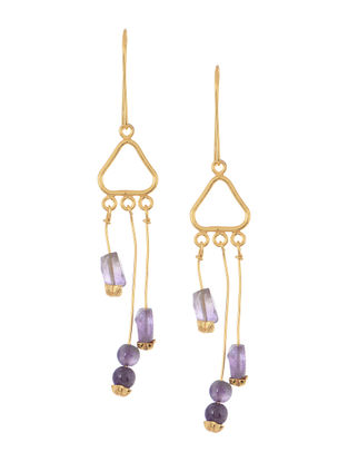 Purple Handcrafted Beaded Earrings