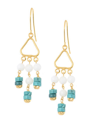 White-Blue Handcrafted Beaded Earrings