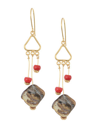 Red-Brown Handcrafted Beaded Earrings