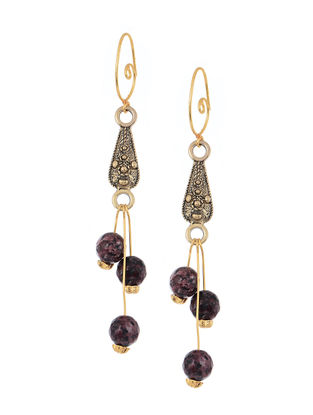 Brown Handcrafted Beaded Earrings