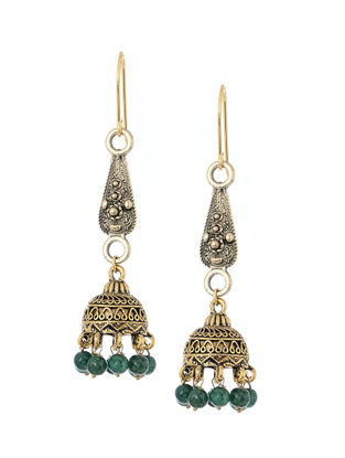 Green Handcrafted Beaded Jhumkis