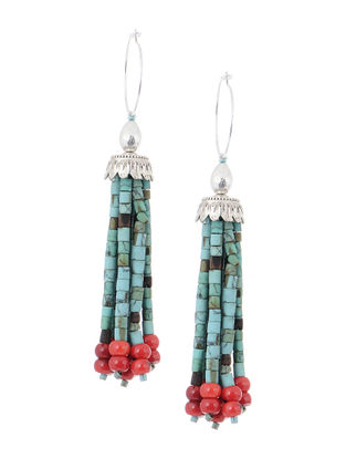 Turquoise-Orange Handcrafted Beaded Earrings