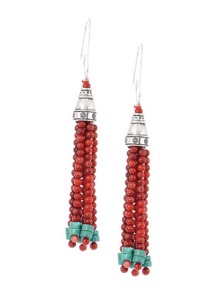Orange-Turquoise Handcrafted Beaded Earrings