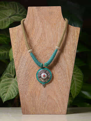 Beige-Blue Handcrafted Thread Tribal Necklace