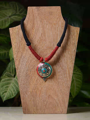 Red-Black Handcrafted Thread Tribal Necklace