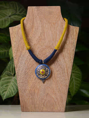 Yellow-Blue Handcrafted Thread Tribal Necklace