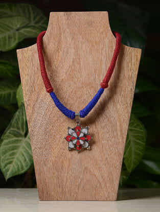Red-Blue Handcrafted Thread Tribal Necklace