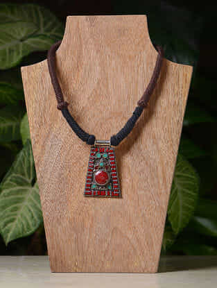 Brown-Black Handcrafted Thread Tribal Necklace