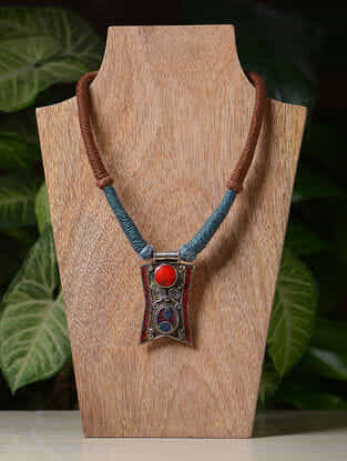 Brown-Blue Handcrafted Thread Tribal Necklace