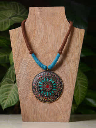 Blue-Brown Handcrafted Thread Tribal Necklace