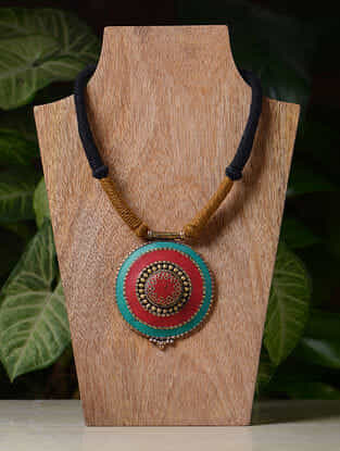 Mustard-Black Handcrafted Thread Tribal Necklace