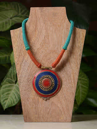 Orange-Blue Handcrafted Thread Tribal Necklace