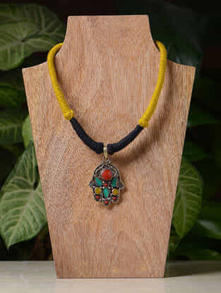Yellow-Black Handcrafted Thread Tribal Necklace