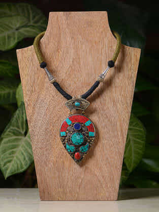 Turquoise-Multicolored Handcrafted Thread Tribal Necklace