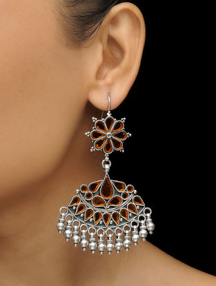 Orange Glass Silver Earrings with Floral Design
