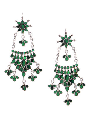 Green Glass Silver Earrings with Floral Design