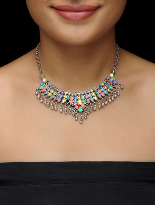 Multicolor Glass Silver Necklace