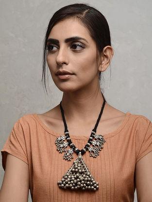 Black Thread Vintage Tribal Silver Necklace