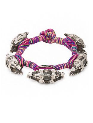 Multicolored Thread Vintage Silver Bracelet