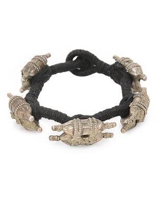 Black Thread Vintage Silver Bracelet