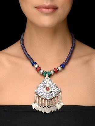 Multicolored Thread Vintage Silver Necklace