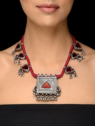 Red Thread Vintage Silver Necklace