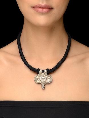 Black Thread Vintage Silver Necklace with Floral Motif