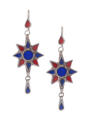 Red-Blue Glass Silver Earrings with Floral Design