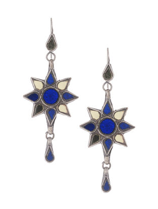 Blue-Yellow Glass Silver Earrings with Floral Design