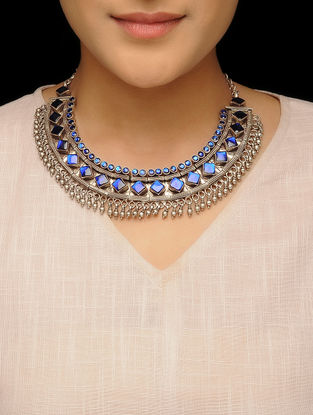 Blue Glass Silver Necklace