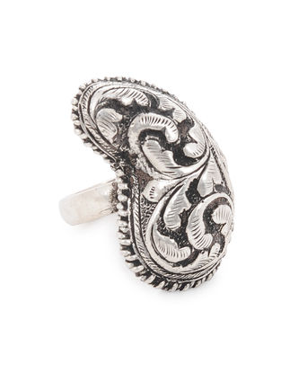 Tribal Silver Ring with Floral Motif (Ring Size -10.5)