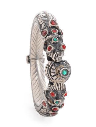 Red-Green Tribal Silver Bangle (Bangle Size -2)