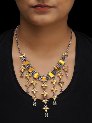 Yellow Glass Tribal Silver Necklace