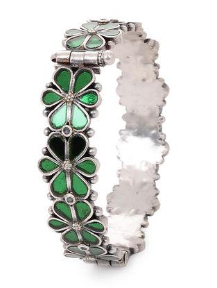 Green Glass Hinged Opening Tribal Silver Bangle(Bangle Size -2/4)