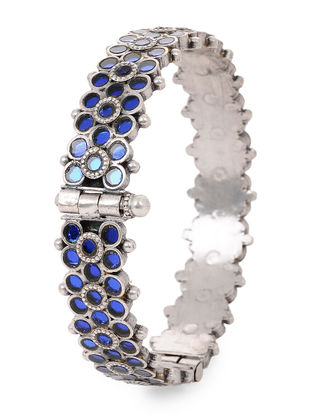 Blue Glass Hinged Opening Tribal Silver Bangle (Bangle Size -2/4)