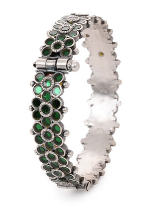 Green Glass Hinged Opening Tribal Silver Bangle (Bangle Size -2/4)