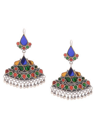Multicoloreded Glass Tribal Silver Earrings