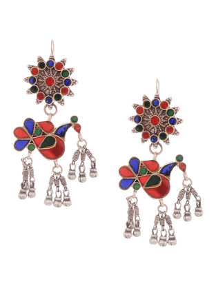 Multicolored Glass Tribal Silver Earrings