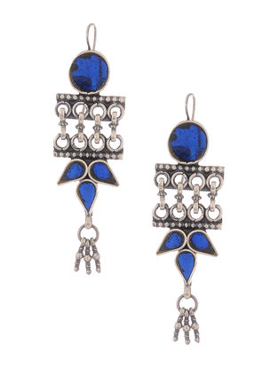 Blue Glass Tribal Silver Earrings