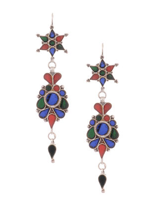 Multicolored Glass Tribal Silver Earrings with Floral Design